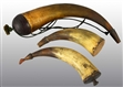 LOT OF 3: GUN POWDER HORNS.
