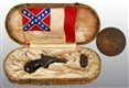 CIVIL WAR CONFEDERATE PISTOL IN LEATHER CASE.