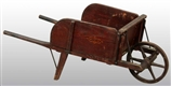 WOODEN PRIMITIVE STENCILED WHEELBARROW.