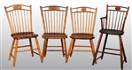 SET OF 4: WOODEN SPINDLE BACK KITCHEN CHAIRS.