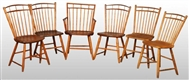 SET OF 6: WOODEN SPINDLE BACK KITCHEN CHAIRS.