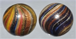 LOT OF 2: ONIONSKIN LUTZ MARBLES.