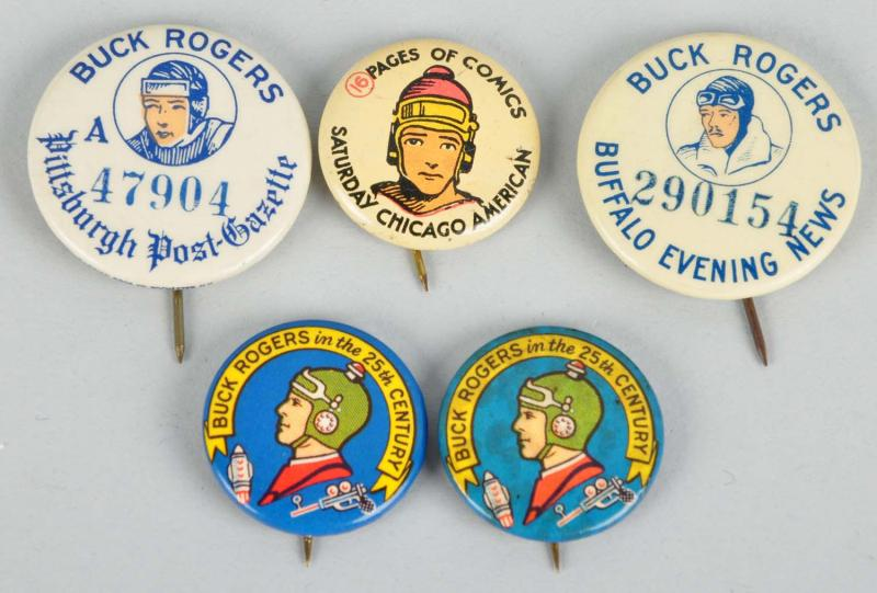 "Set of three 1/"" Vintage look Buck Rogers pins buttons Solar Scouts"