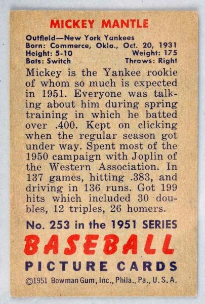 Lot Detail 1951 Bowman Mickey Mantle Rookie Card