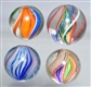 LOT OF 4: SWIRL MARBLES.