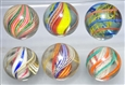 LOT OF 6: MULTI-COLOR SWIRL MARBLES.