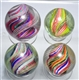 LOT OF 4: LARGE DIVIDED CORE SWIRL MARBLES.