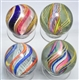 LOT OF 4: LARGE SWIRL MARBLES.
