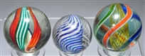 LOT OF 3: LARGE SWIRL MARBLES.