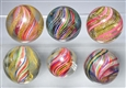 LOT OF 6: SWIRL MARBLES.