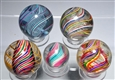 LOT OF 5: LARGE SWIRL MARBLES.