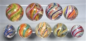 LOT OF 9: MULTI-COLOR SWIRL MARBLES.