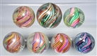LOT OF 7: MULTI-COLOR SWIRL MARBLES.