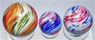 LOT OF 3: FOUR-PANELED ONIONSKIN MARBLES.