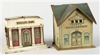 LOT OF 2: TIN BUILDING BANKS.