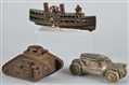 LOT OF 3: CAST IRON & DIECAST VEHICLE BANKS.