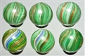 LOT OF 6: ONIONSKIN LUTZ MARBLES.