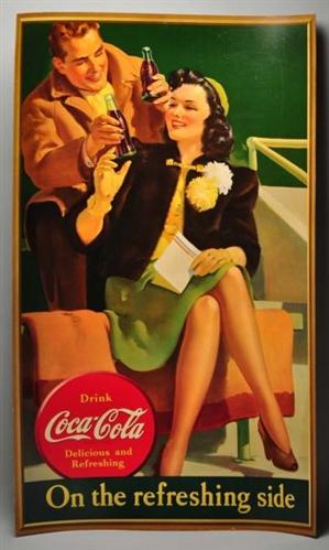 Vertical Cardboard Coca-Cola Poster.