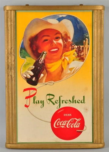 Cardboard Vertical Coca-Cola Poster.