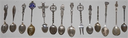 LOT OF 14: STERLING SILVER SOUVENIR SPOONS.