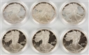 LOT OF 6: AMERICAN EAGLE COIN PROOFS IN BOXES.