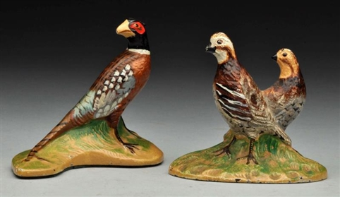 LOT OF 2: CAST IRON PHEASANT & QUAIL PAPERWEIGHTS.