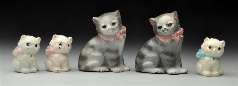 LOT OF 5: CAST IRON ASSORTED CAT PAPERWEIGHTS.