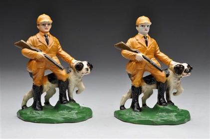 CAST IRON HUNTER WITH RIFLE & HUNTING DOG BOOKENDS