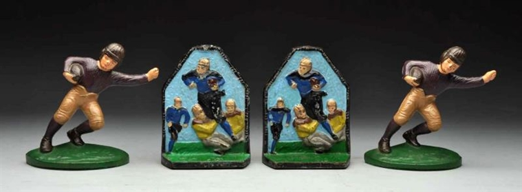 LOT OF 2: CAST IRON FOOTBALL PLAYER BOOKENDS.