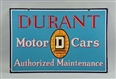 RARE DURANT MOTOR CARS DOUBLE SIDED PORCELAIN SIGN
