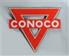 CONOCO DOUBLE SIDED PORCELAIN DIECUT SIGN.
