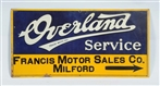 OVERLAND SERVICE SINGLE SIDED TIN EMBOSSED SIGN.