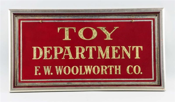 WOOLWORTH TOY DEPARTMENT REVERSE PAINTING SIGN.