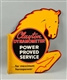 "CLAYTON DYNAMOMETER ""POWER PROVED SERVICE"" SIGN."