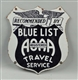 RECOMMENDED BY BLUE LIST AOAA TRAVEL SERVICE SIGN.