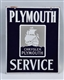 PLYMOUTH SERVICE DOUBLE SIDED PORCELAIN SIGN.