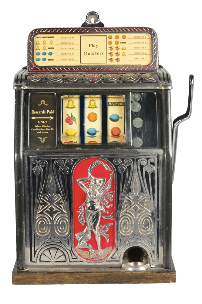 "**25¢ Caille ""Naked Lady"" Slot Machine"