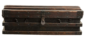 Large Wood & Metal Wells Fargo Chest.