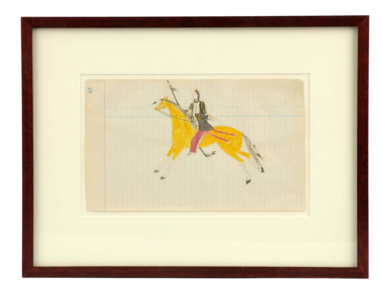 Roan Eagle Ledger Drawing In Frame.