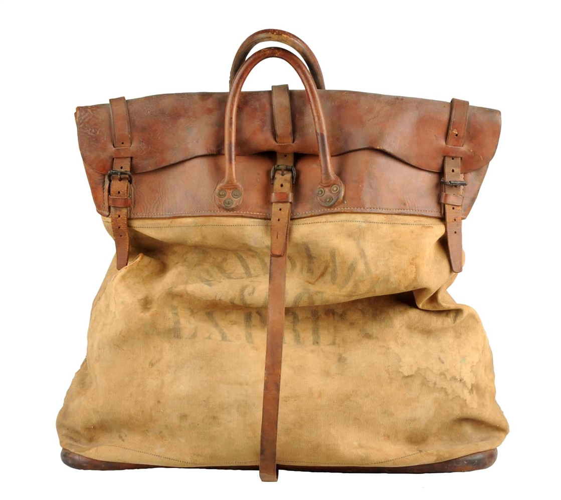 Large Wells Fargo Leather & Canvas Bag.