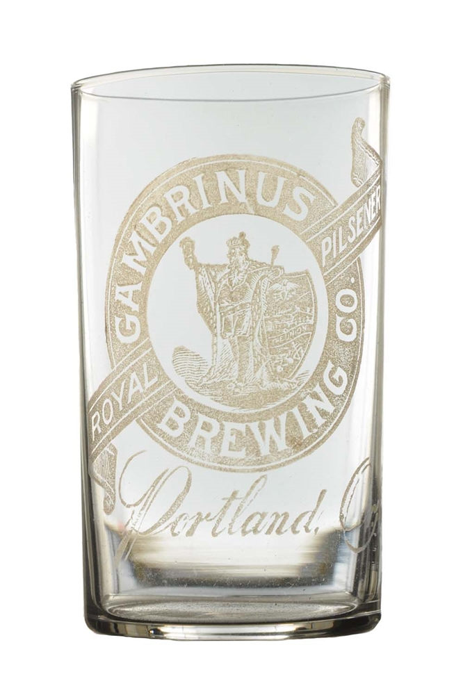 Gambrinus Brewing Co. Etched Beer Glass