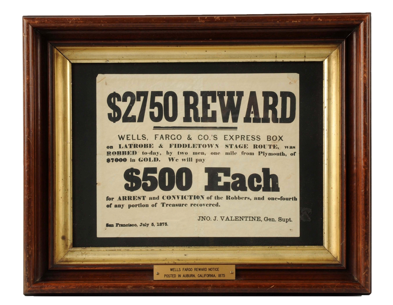 Original Wells Fargo $2750 Reward Poster.