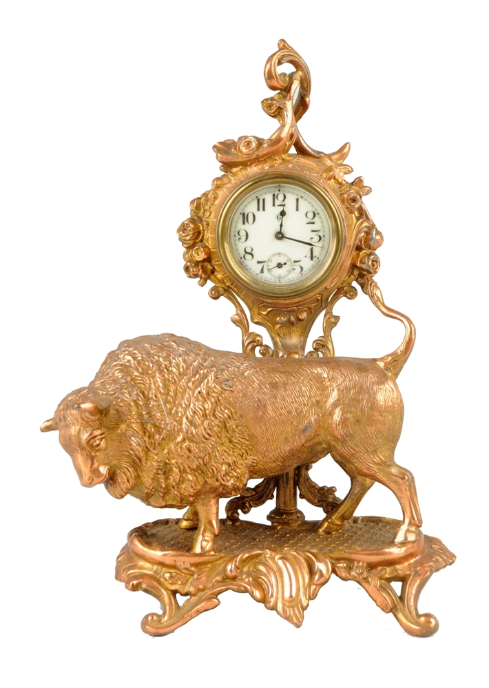 Cast Brass Buffalo Desk Clock.