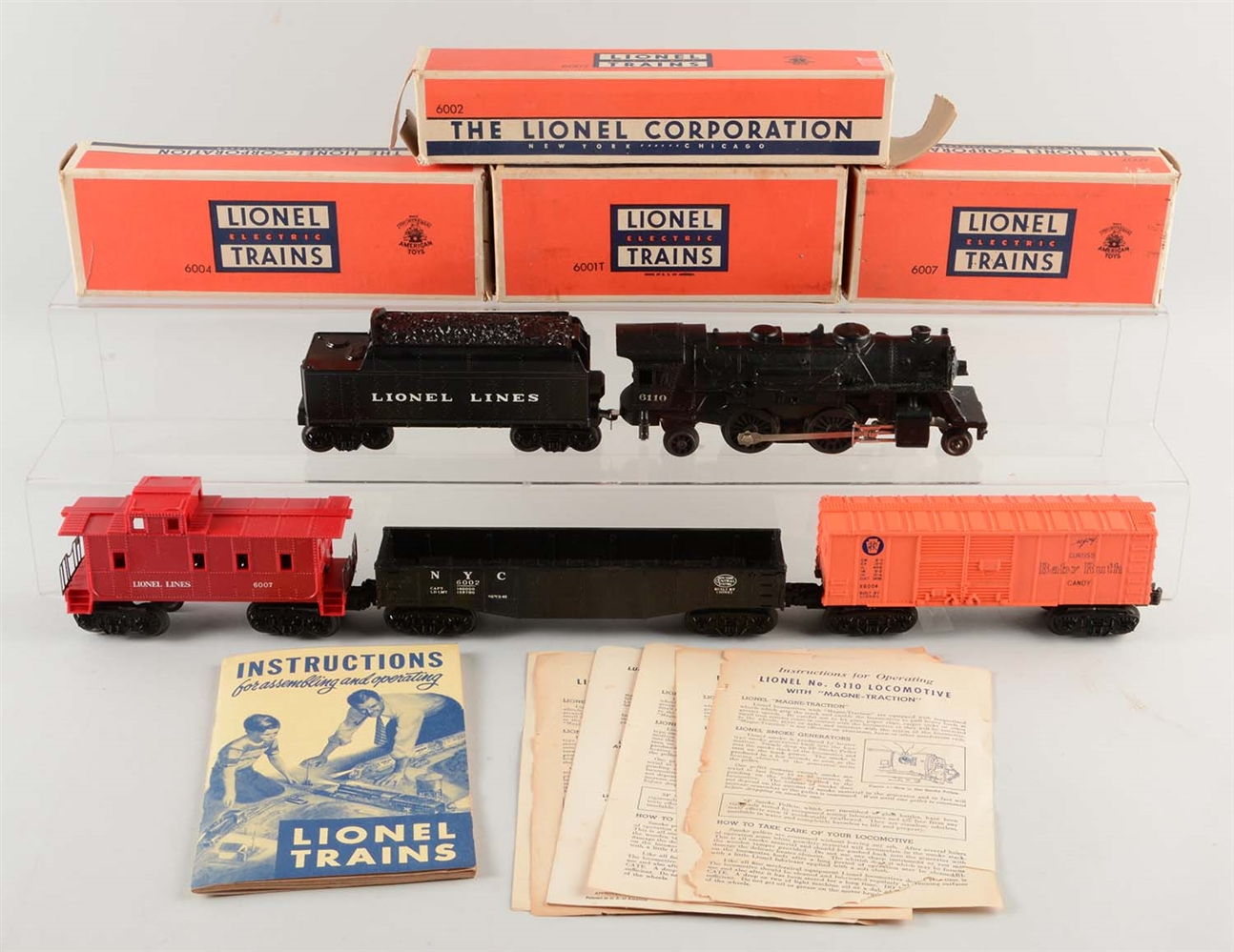 LOT OF 5: LIONEL NO. 6110 & FREIGHT CARS.