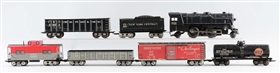 LOT OF 7: MARX NO. 999 & FREIGHT CARS.