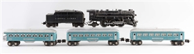 LOT OF 5: LIONEL NO. 224 LOCOMOTIVE & BLUE SILVER PASSENGER CARS.