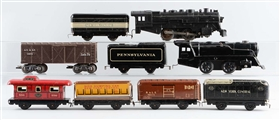 LOT OF 9: MARX STEAM LOCOMOTIVES & FREIGHT CARS.