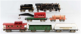 LOT OF 7: AMERICAN FLYER O GAUGE SET.