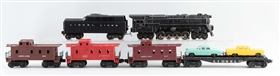 LOT OF 6: LIONEL NO. 681 LOCOMOTIVE & FREIGHT CARS.