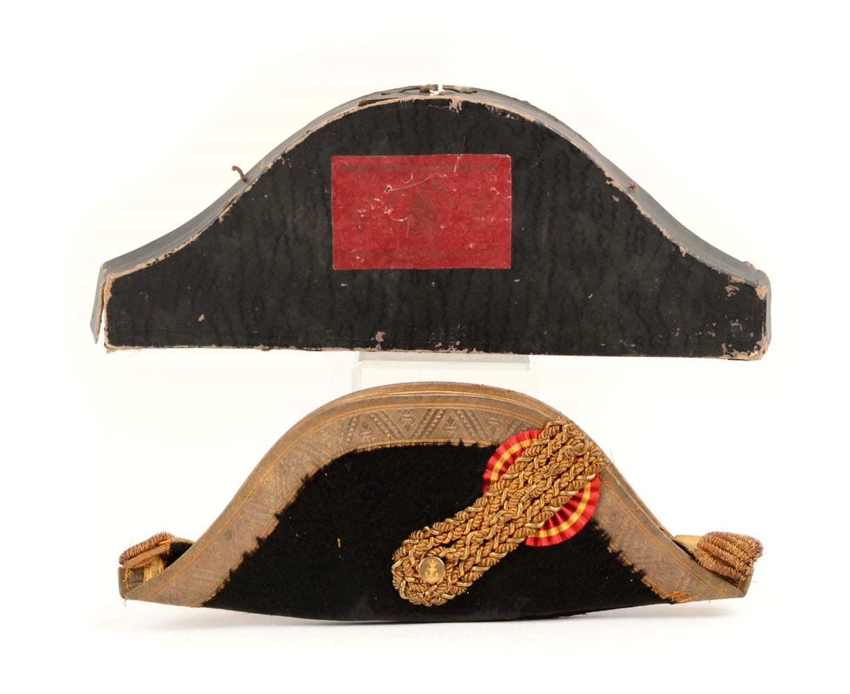 Spanish Naval Bicorn Hat In Original Carrying Case.